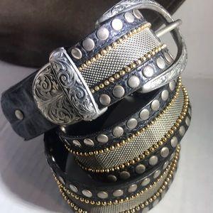 Nanni Metal Mesh Leather Studded Belt